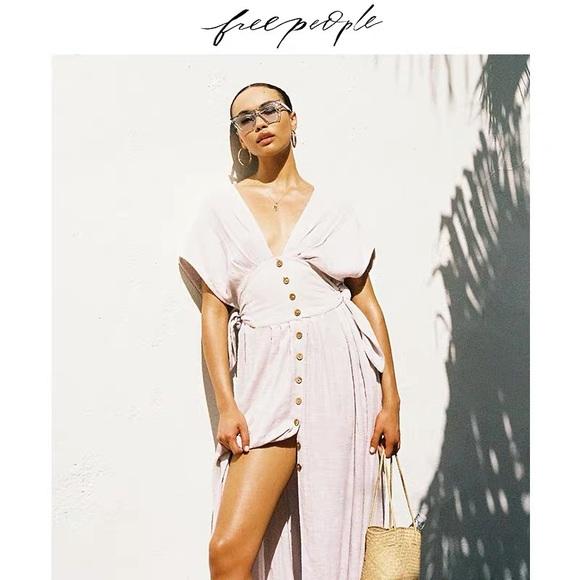 Free people v-neck linen maxi dress